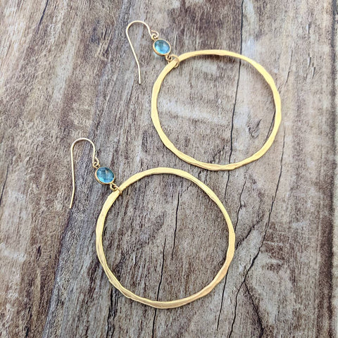 "Sigalie Jewelry ""BOHEMIAN"" Aqua Chalcedony Gold Hanging Hoops"