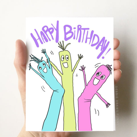 Debbie Draws Funny - Inflatable Tube Men Birthday Card
