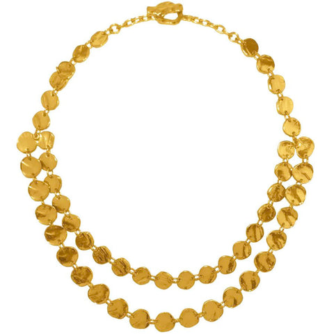 KARINE SULTAN Hammered Disc Double Row Collar Necklace