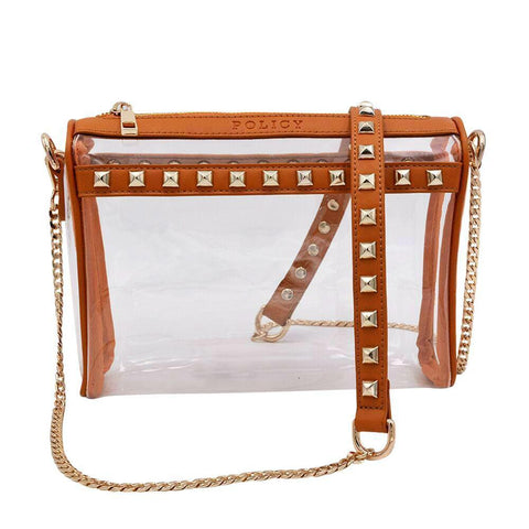 Policy Handbags - The Rockstar - Clear Caramel and Stud Vegan Leather Handbag