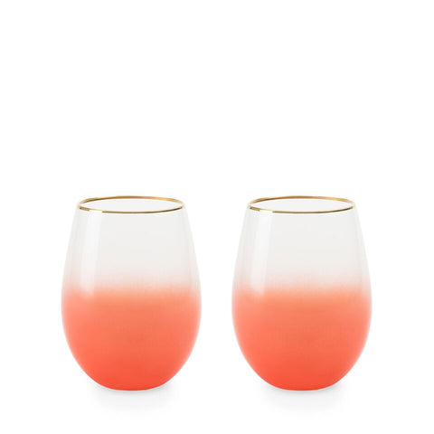 Blush - Stemless Wine And Cocktail Bougainvillea set of 2 glasses