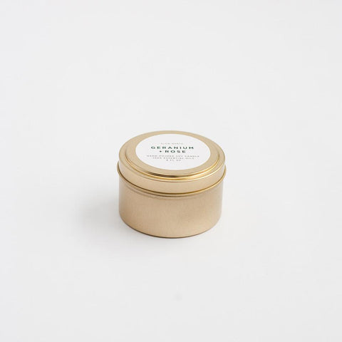 Slow North - Travel Tin Candles | Geranium + Rose (6 oz.)
