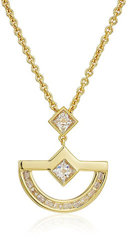 NICOLE MILLER 'New York' Gold Crescent CZ Pyramid and Baguette Pendant Necklace