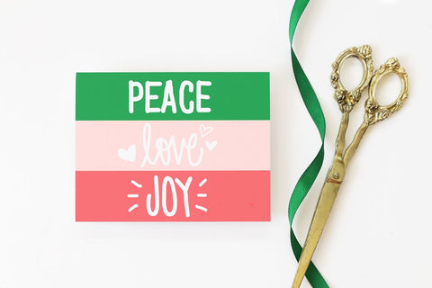When it Rains Paper Co. - Peace Love Joy  Holiday Card - Box of 8