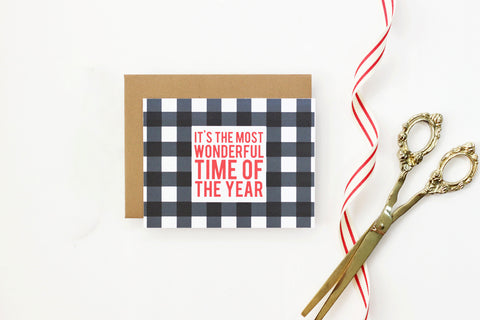 When it Rains Paper Co. - Buffalo Check Holiday Card - Box of 8