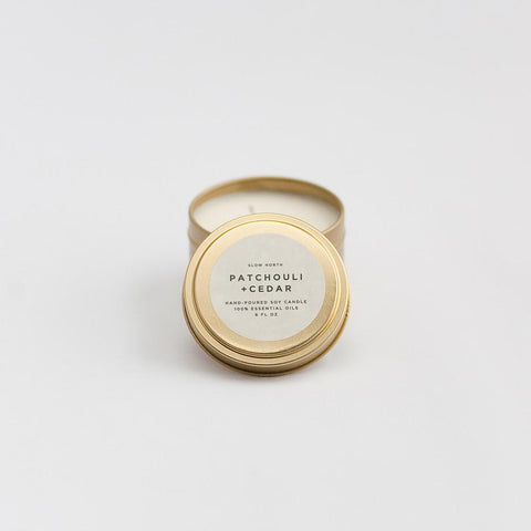 Slow North - Travel Tin Candles | Patchouli + Cedar (6 Oz)