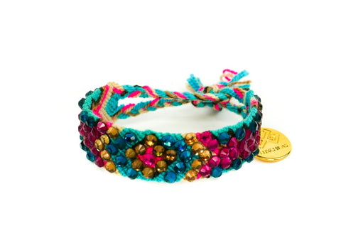 "LUXCHILAS ""Crystals"" Woven Tropical Rainbow Bracelet"