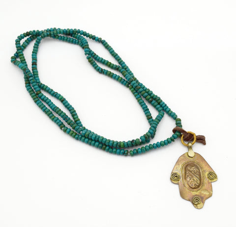 "CHERYL DUFAULT Turquoise Beaded Hamsa Long 36"" Pendant Necklace"