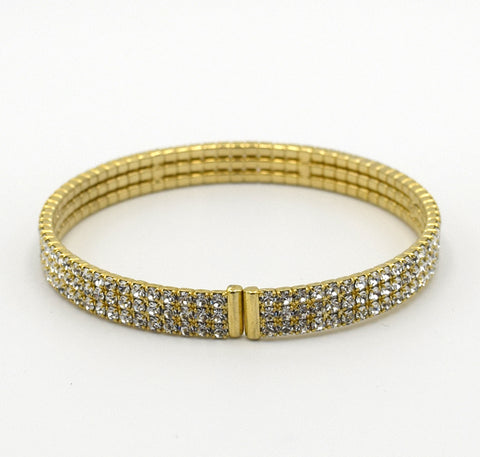 OOH LA LA Crystal Three Row Spring Wrap Bracelet