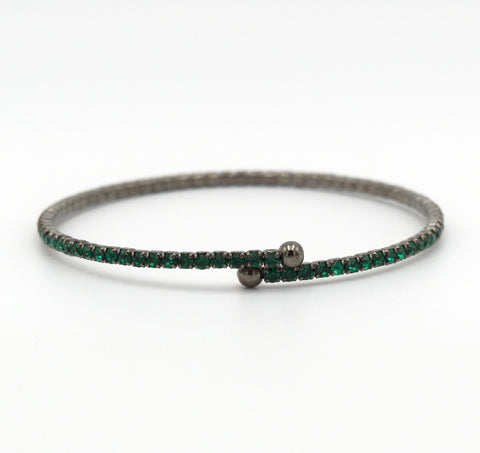 OOH LA LA Deep Green Crystal and Gunmetal Spring Wrap Bracelet