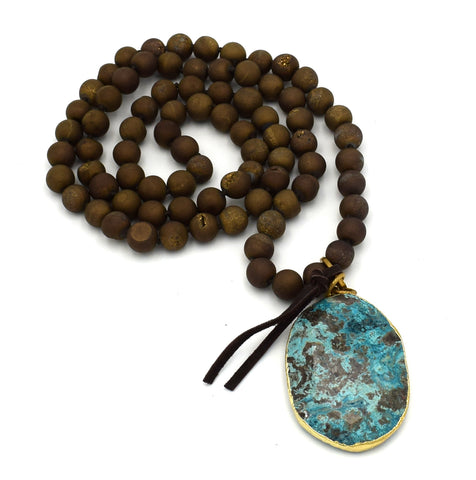 "CHERYL DUFAULT Large Turquoise Pendant Drusy Long 36"" Beaded Necklace"