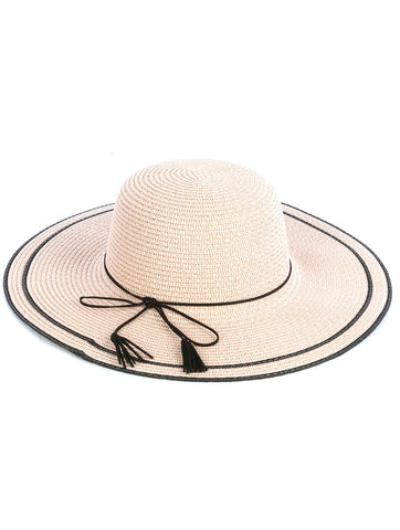 "OOH LA LA ""SUMMER LOVIN"" Wide Brim Beige Beach Hat"
