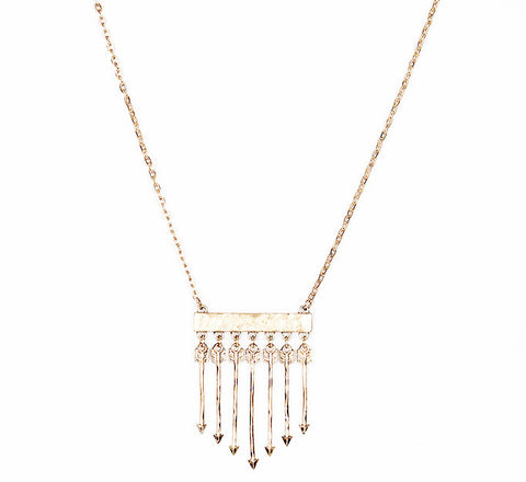 OOH LA LA Long Arrow Fringe Necklace