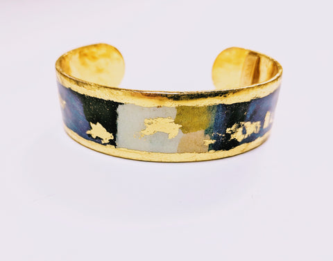 "ÉVOCATEUR Gold Abstract Modern Berlin Blue .75"" Cuff"