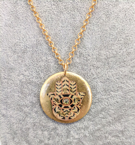 ÉVOCATEUR Large Hamsa and Swarovski crystal Pendant Necklace -17""