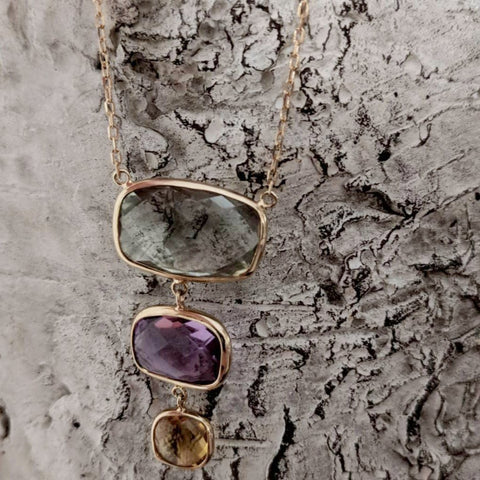 "Jewelmak ""Gems"" 14k Gold Geeen Amethyst, Amethyst and Citrine Graduated Gemstone Pendant Necklace"