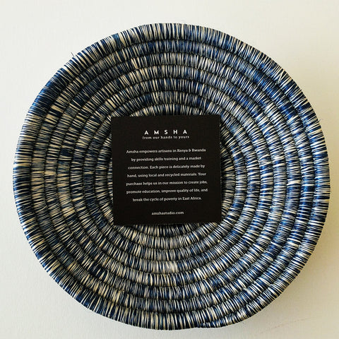 AMSHA Denim Blue Hand Woven Small Sisal Bowl