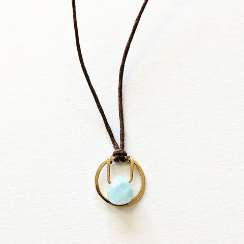Piruli 'Oro Aplanado' Aquamarine Teardrop Circle Necklace