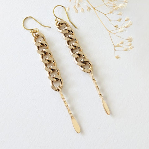JENOWADE  Curb Chain Linear Earrings