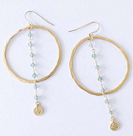 "Sigalie Jewelry ""Bohemian"" Gem Chain Hoop Drop Earrings"