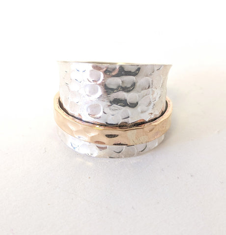 Baizaar Sterling Silver Hammered Saddle Band with Vermeil Gold Spinner Ring