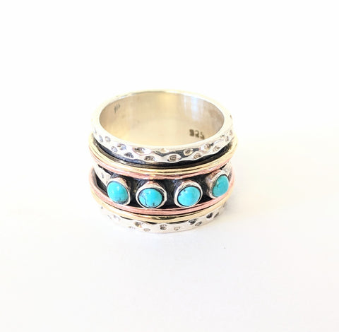 Baizaar Sterling Silver Wide Band with Turquoise, Rose Gold and Gold Spinner Ring