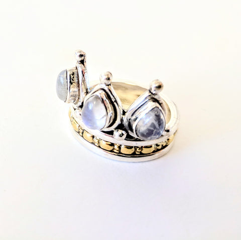 Baizaar Sterling Silver Moonstone Crown Spinner Ring