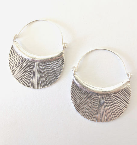 Baizaar Hill Tribe Silver Etched Petal Hoop Earrings