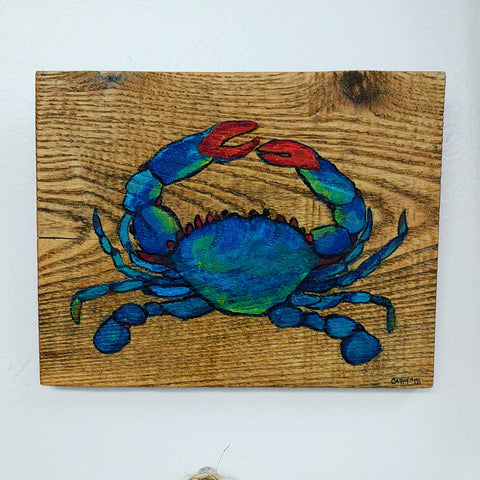 Cathy Zavorskas Hand Painted Crab Wooden Tile