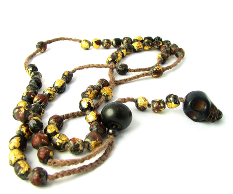 CHERYL DUFAULT Skull Beaded Extra Long Necklace