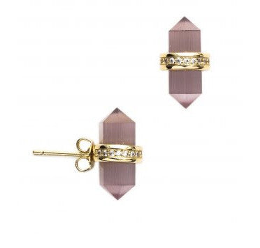 MELANIE AULD Cat's Eye Crystal Cut Stud Earrings