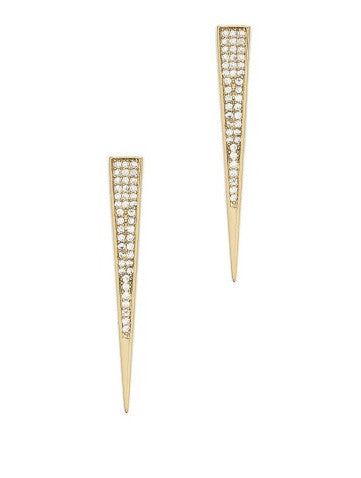 MELANIE AULD Triangle Elongated Pave Stud Earrings
