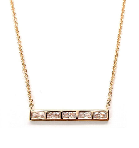 RACHAEL RYEN Five Baguette Bar Necklace