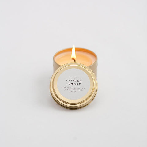 Slow North - Travel Tin Candles | Vetiver + Smoke (6 Oz)