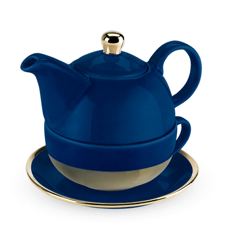 Pinky Up - Addison™ Dark Blue and Gold Tea for One Set by Pinky Up®