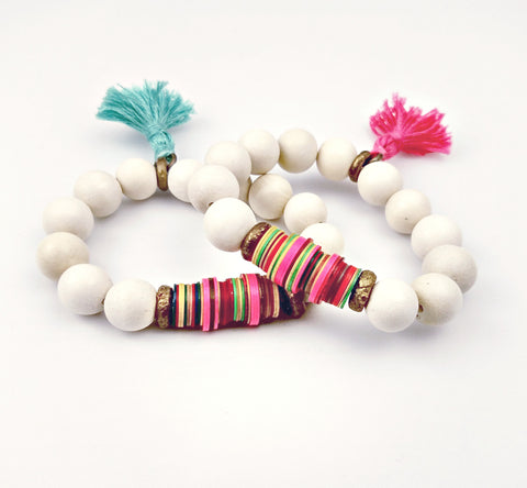 MELVIN 'HANDY' Wood Bead Stretch Tassle Bracelet