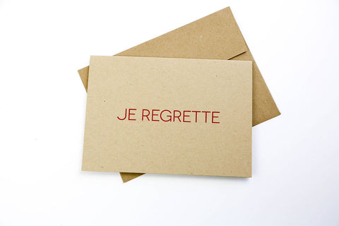 GOODS THAT MATTER 'Je Regrette' Greeting Card