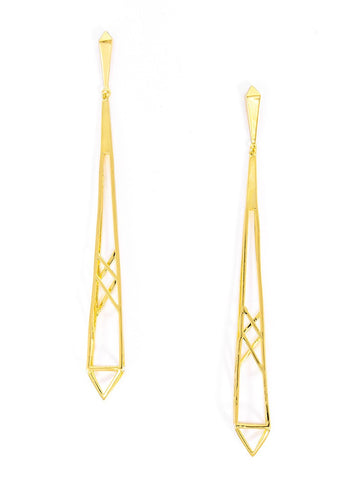 ZENZII Long Gold Spire Drop Earrings