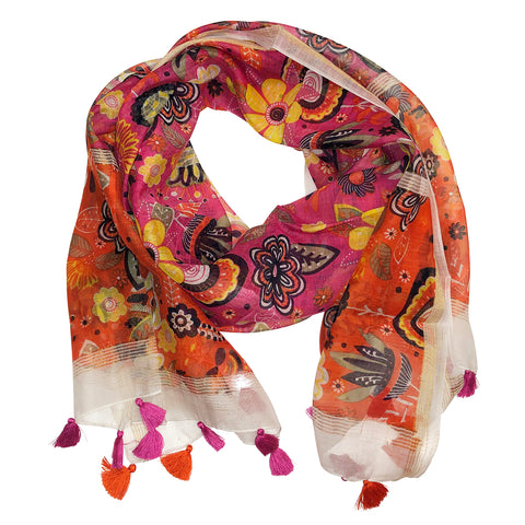 Chloe & Lex - Pari Floral Orange Pink Cotton Scarf