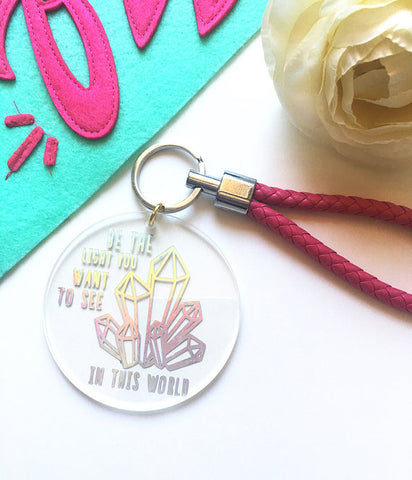"The Golden Type ""Be The Light"" Crystal Cluster Keychain"