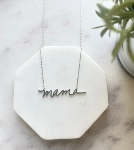"Pretty Simple ""Mama"" Necklace - Silver"