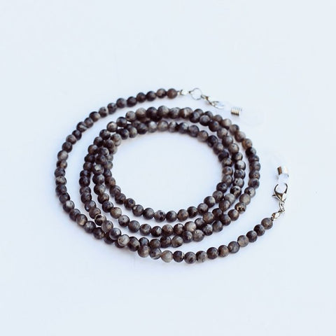 Pretty Simple Beaded Face Mask Chain Necklace/ Lanyard-Grey Round Mala Beaded Chain
