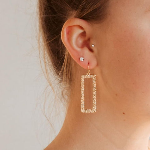 Pretty Simple - Nora Textured Rectangle Drop Earrings -Gold