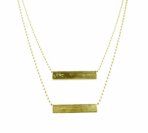 JENOWADE 'Bar' Love Stamped Necklace
