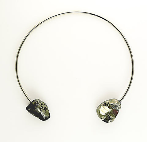 "SERAPHINE DESIGN ""PYRITE"" Rhodium Collar Necklace"