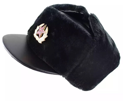 Leather Soviet Cap With Flaps
