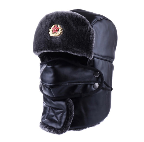 Genuine Leather Soviet Bomber Hat