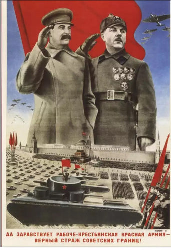 Stalin And The Military Parade Soviet Poster