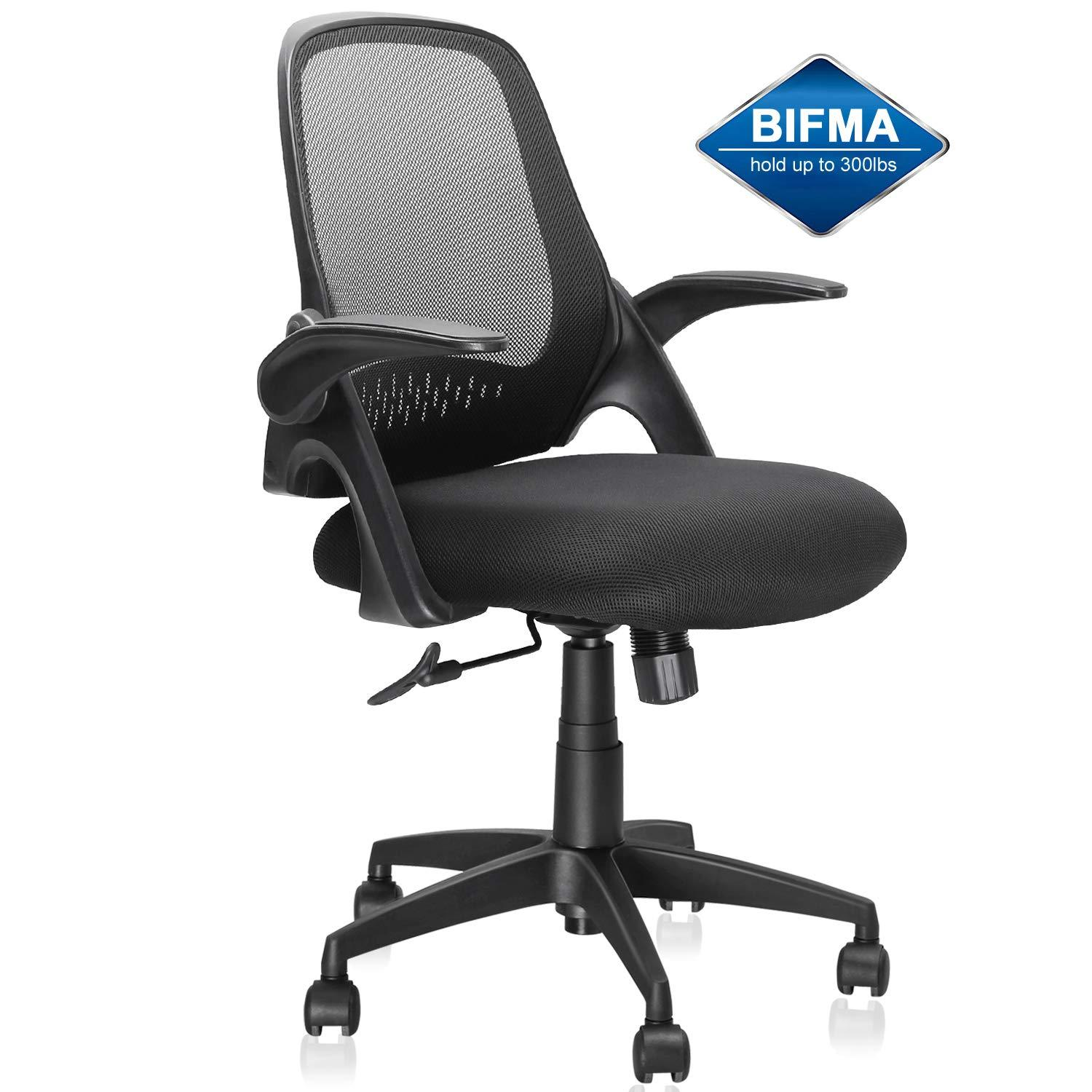 Fantastic Mid Back Mesh Office Chair Ergonomic Desk Chairs Swivel Computer Task Chairs With Adjustable Height And Flip Up Armrest Lumbar Support And Sponge Ibusinesslaw Wood Chair Design Ideas Ibusinesslaworg