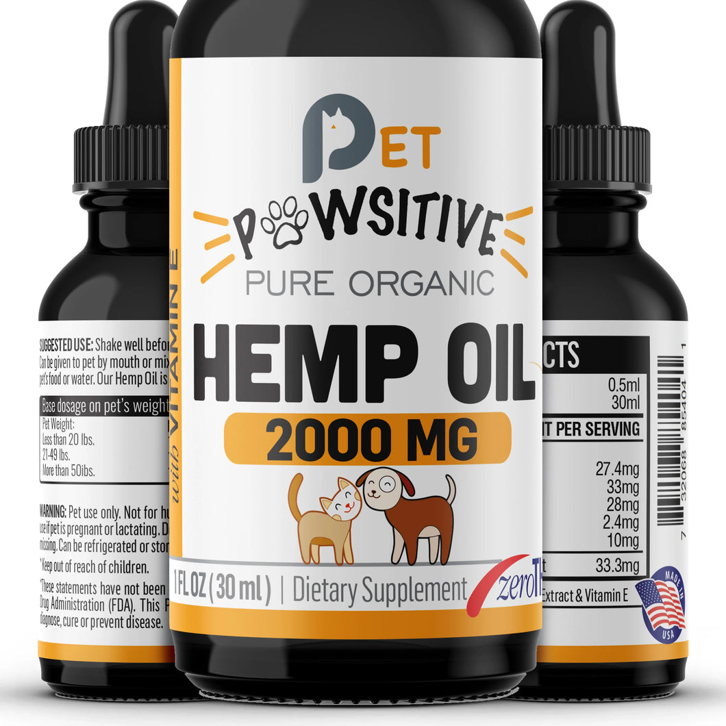 Pet Pawsitive Hemp Oil For Dogs And Cats 2000mg